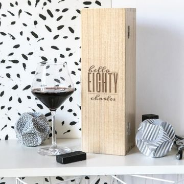 Personalised Hello Eighty Birthday Wine Box