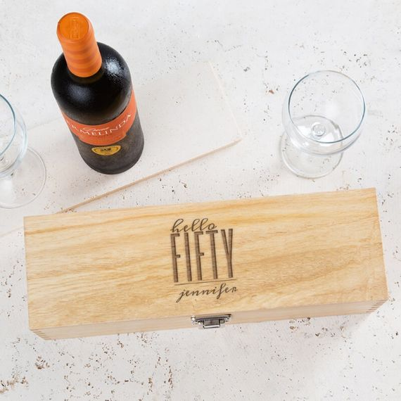 Personalised Hello Fifty Birthday Wine Box
