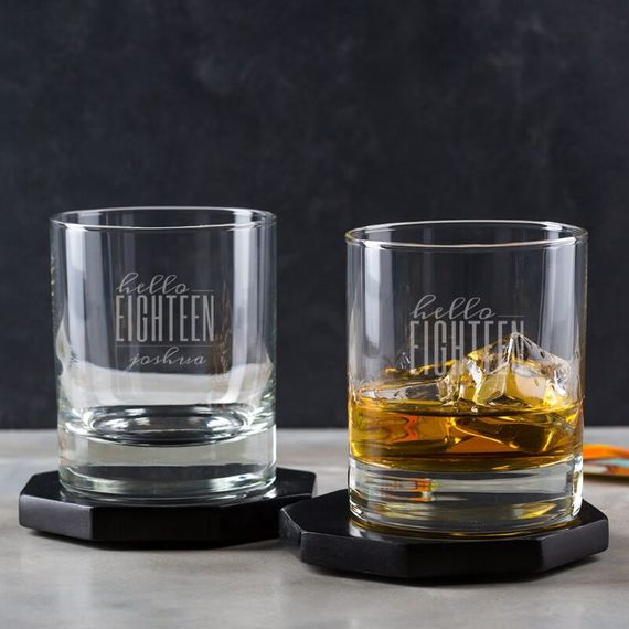 Personalised Hello Eighteen Birthday Whisky Tumbler