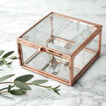 Personalised Hello Twenty One Birthday Square Rose Gold Glass Trinket Box