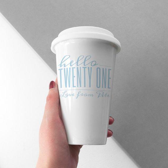 Personalised Hello Twenty One Birthday Travel Mug