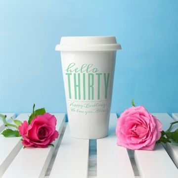 Personalised Hello Thirty Birthday Travel Mug