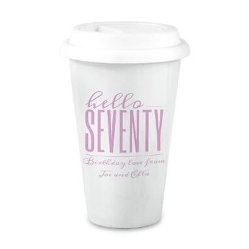 Personalised Hello Seventy Birthday Travel Mug