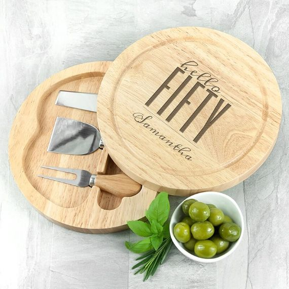 Personalised Hello Fifty Birthday Round Cheese Board