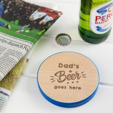 Personalised Dad's Beer Wooden Coaster