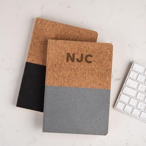 Personalised Initials Cork Vegan Notebook