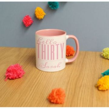 Personalised Hello Thirty Inside Colour Mug