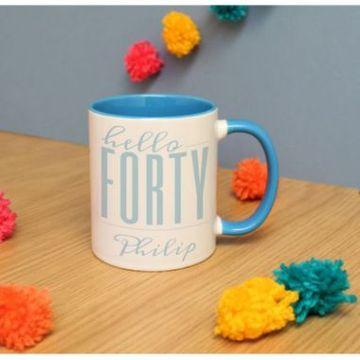 Personalised Hello Forty Inside Colour Mug
