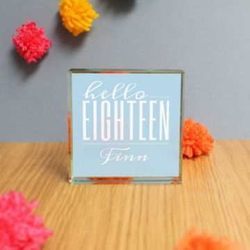 Personalised Hello Eighteen Jade Glass Block