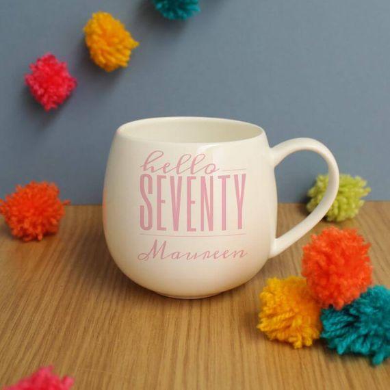 Personalised Hello Seventy Hug Mug