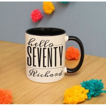 Personalised Hello Seventy Inside Colour Mug