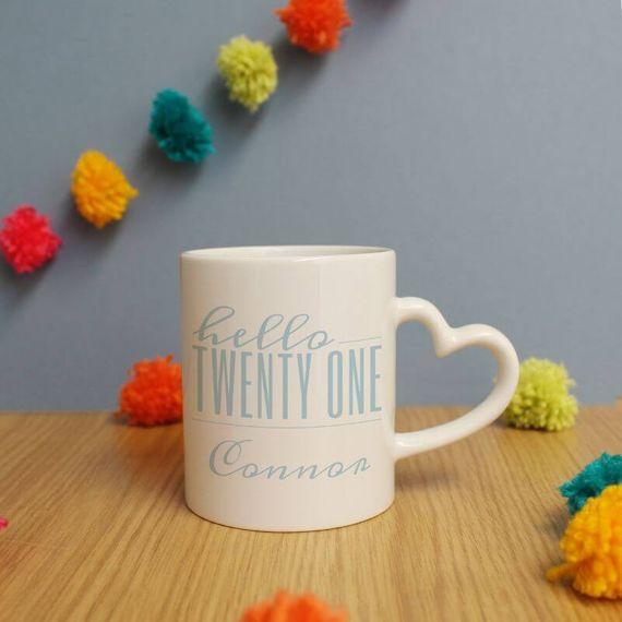 Personalised Hello Twenty One Heart Handle Mug