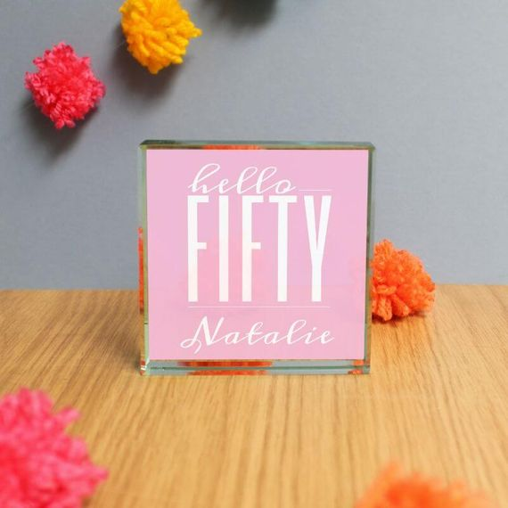 Personalised Hello Fifty Jade Glass Block