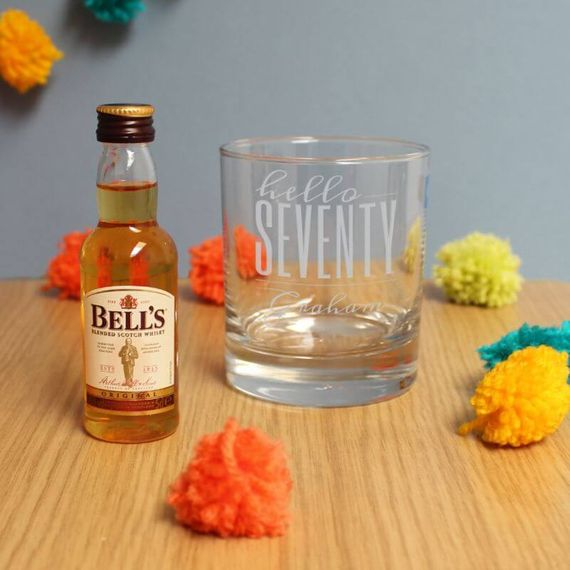Personalised Hello Seventy Tumbler And Miniature Whisky