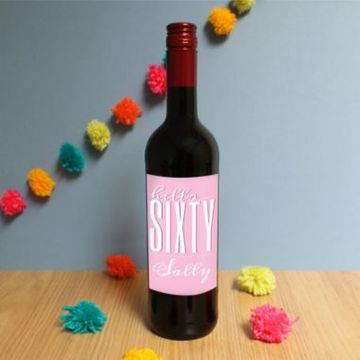 Personalised Hello Sixty Red Wine