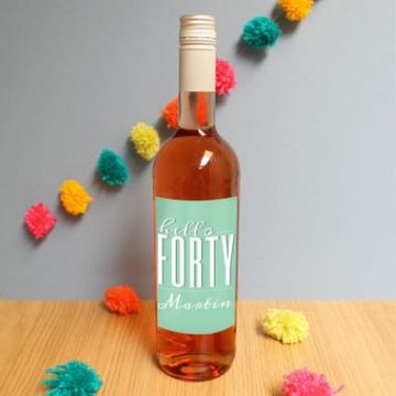 Personalised Hello Forty Rose Wine