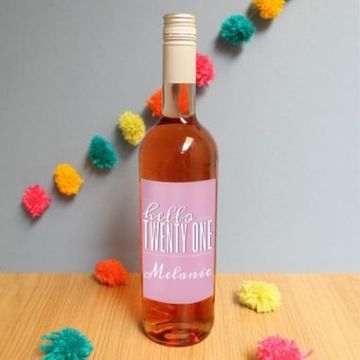 Personalised Hello Twenty One Rose Wine