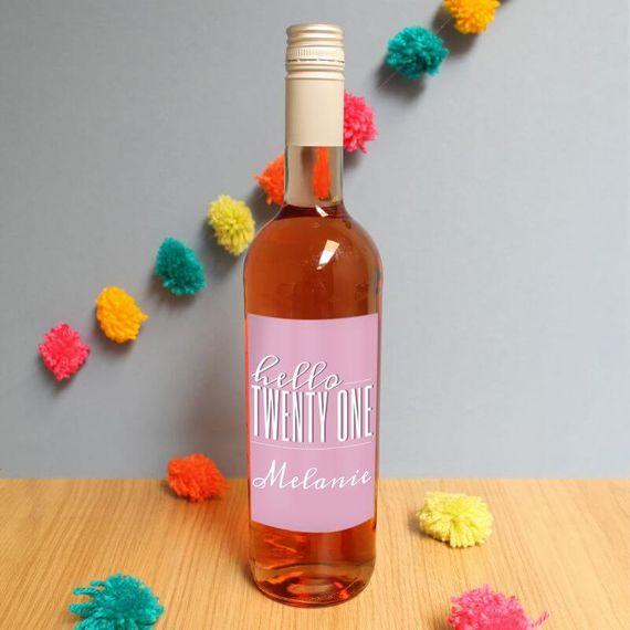 Personalised Hello Twenty One Rose Wine