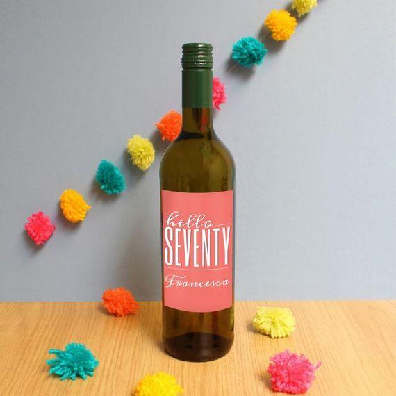 Personalised Hello Seventy White Wine