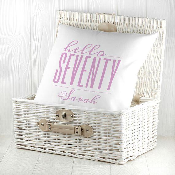 Personalised Hello Seventy Birthday Cushion Cover