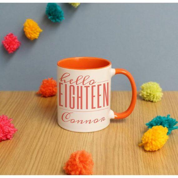 Personalised Hello Eighteen Inside Colour Mug