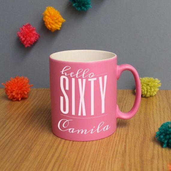 Personalised Hello Sixty Birthday Satin Mug