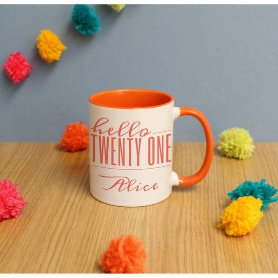 Personalised Hello Twenty One Inside Colour Mug
