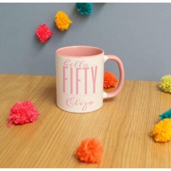 Personalised Hello Fifty Inside Mug