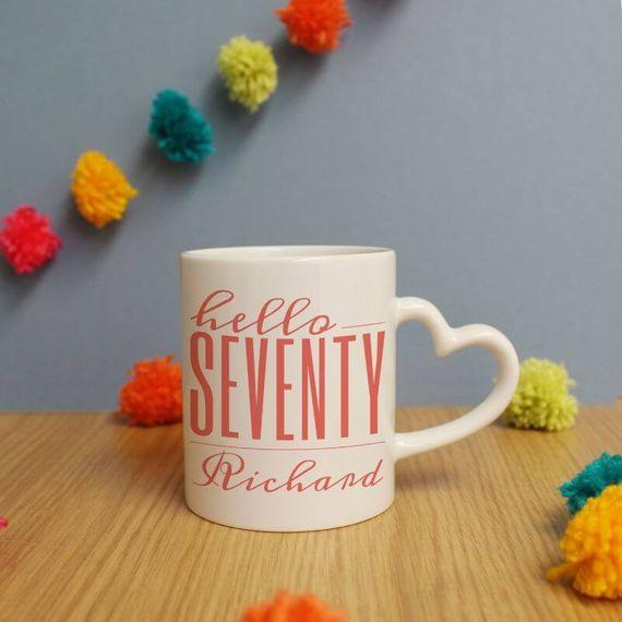 Personalised Hello Seventy Heart Handle Mug