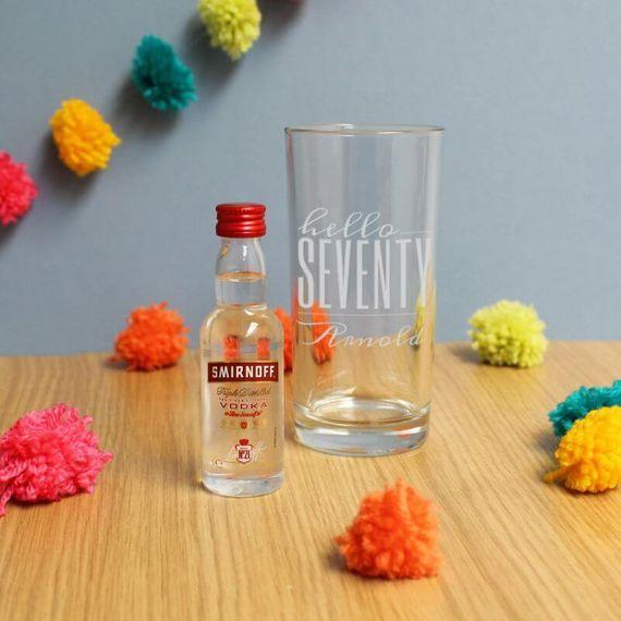 Personalised Hello Seventy Tumbler And Miniature Vodka
