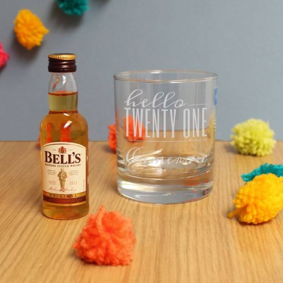 Personalised Hello Twenty One Tumbler And Miniature Whisky