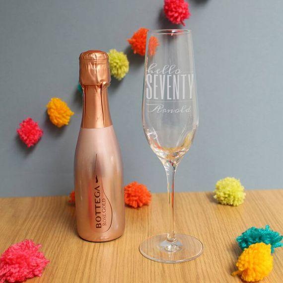Personalised Hello Seventy Flute And Rose Gold Bottega