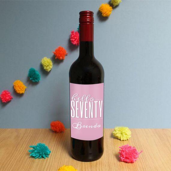 Personalised Hello Seventy Red Wine