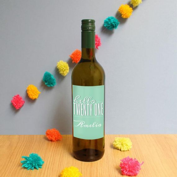 Personalised Hello Twenty One White Wine