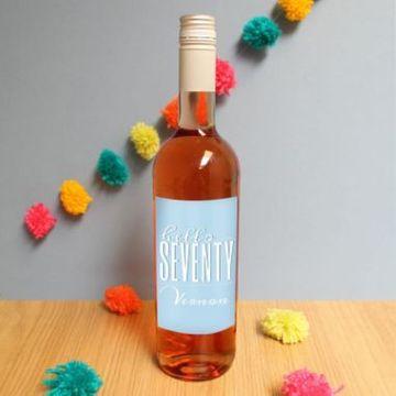 Personalised Hello Seventy Rose Wine