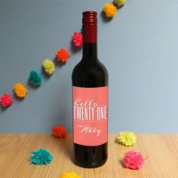 Personalised Hello Twenty One Red Wine