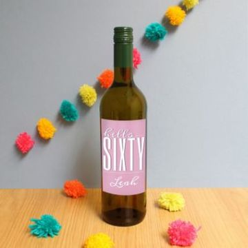 Personalised Hello Sixty White Wine