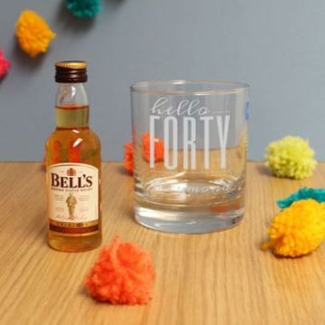 Personalised Hello Forty Tumbler And Miniature Whisky