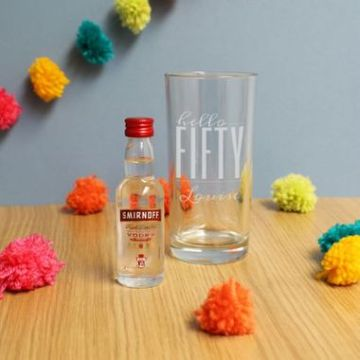 Personalised Hello Fifty Tumbler And Miniature Vodka