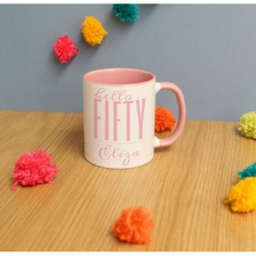 Personalised Hello Fifty Inside Mug
