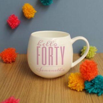 Personalised Hello Forty Hug Mug