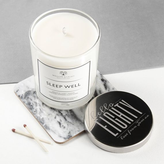 Personalised Hello Eighty Birthday Candle With Silver Lid