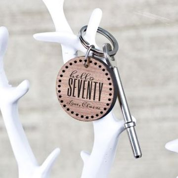 Personalised Hello Seventy Birthday Key Ring