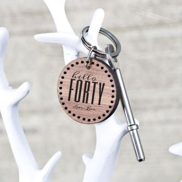 Personalised Hello Forty Birthday Key Ring