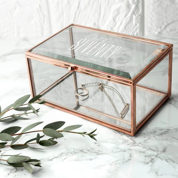 Personalised Hello Seventy Birthday Rose Gold Glass Jewellery Box