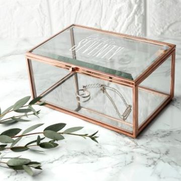 Personalised Hello Seventy Birthday Rose Gold Glass Jewellery Box