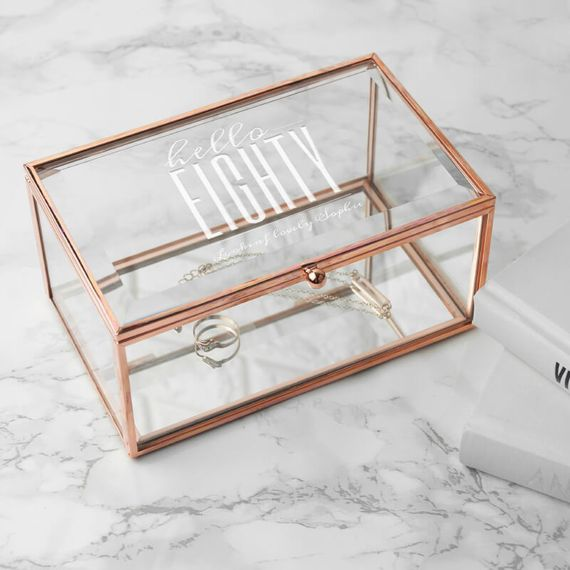 Personalised Hello Eighty Birthday Rose Gold Glass Jewellery Box