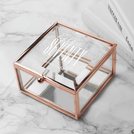 Personalised Hello Seventy Birthday Square Rose Gold Glass Trinket Box