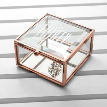 Personalised Hello Thirty Birthday Square Rose Gold Glass Trinket Box