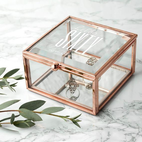 Personalised Hello Sixty Birthday Square Rose Gold Glass Trinket Box